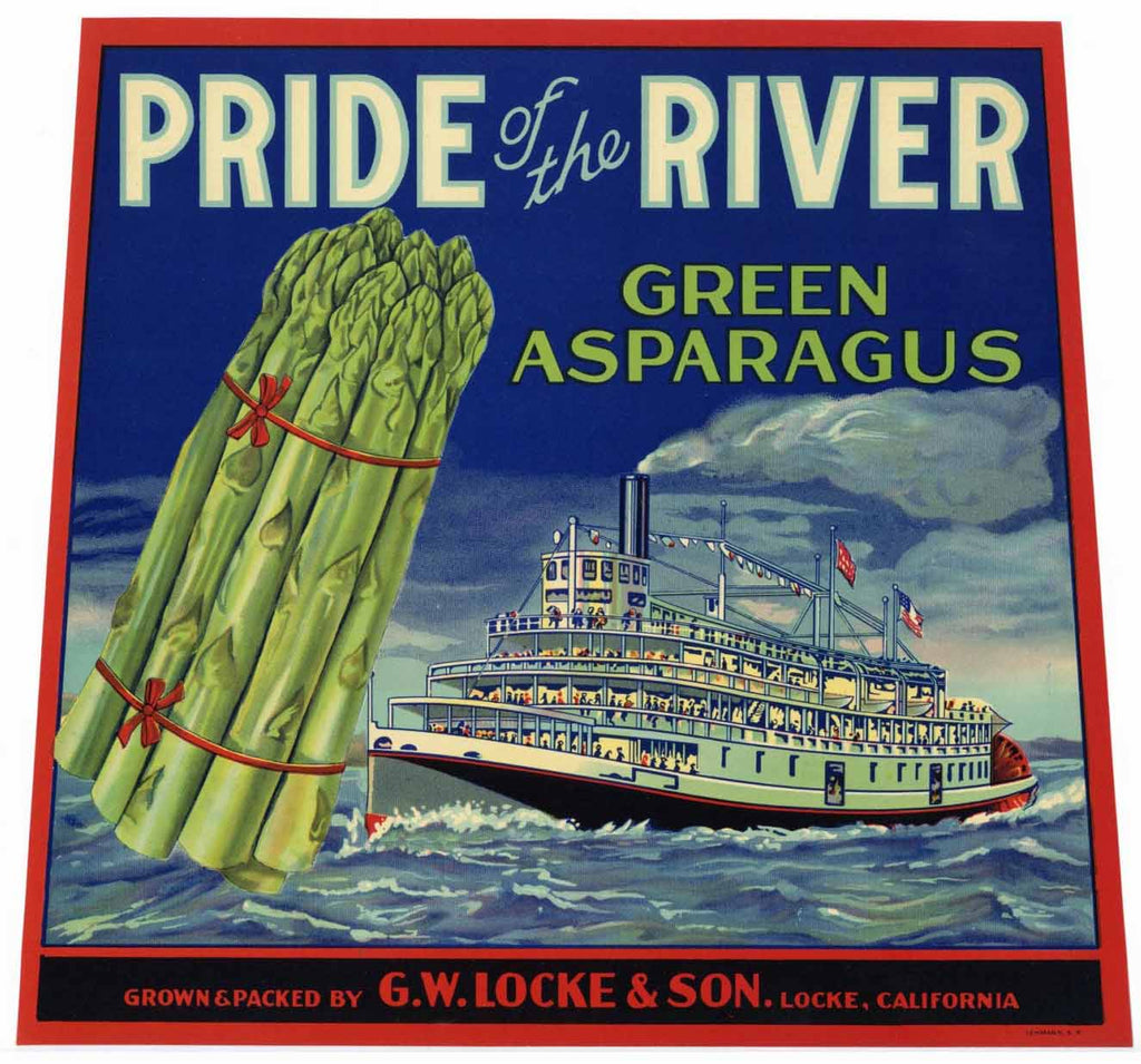 Pride Of The River Brand Vintage Sacramento Delta Asparagus Crate Label
