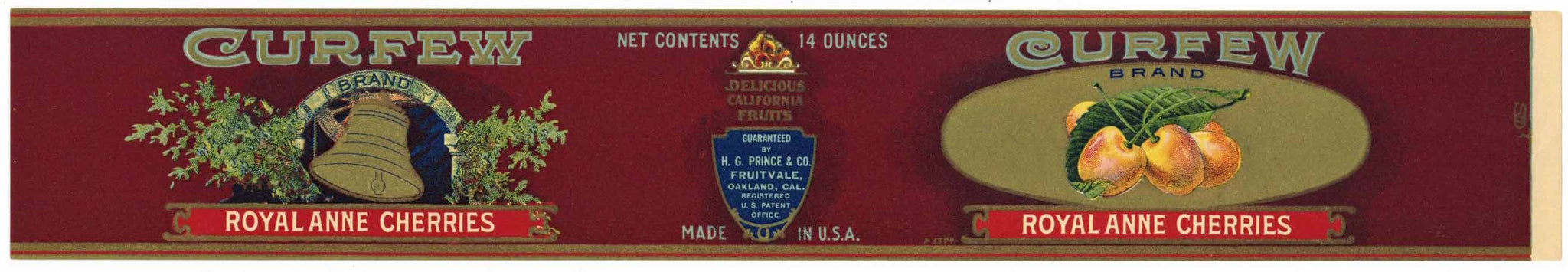 Curfew Brand Vintage Oakland Fruitvale Cherry Can Label