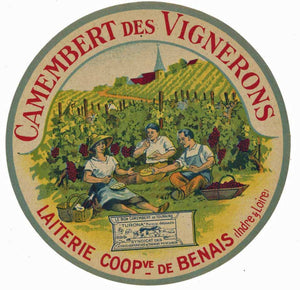 Camembert des Vignerons Vintage French Camembert Cheese Label