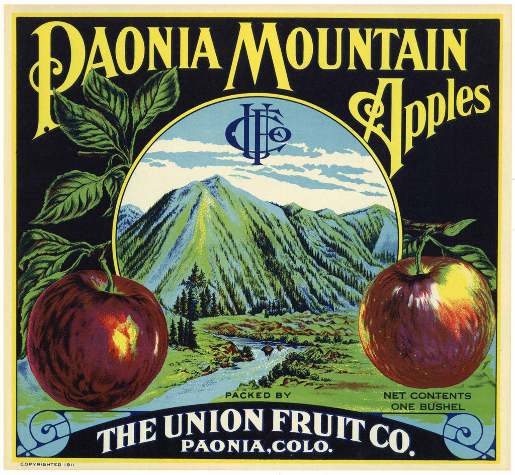 Paonia Mountain Brand Vintage Colorado Apple Crate Label