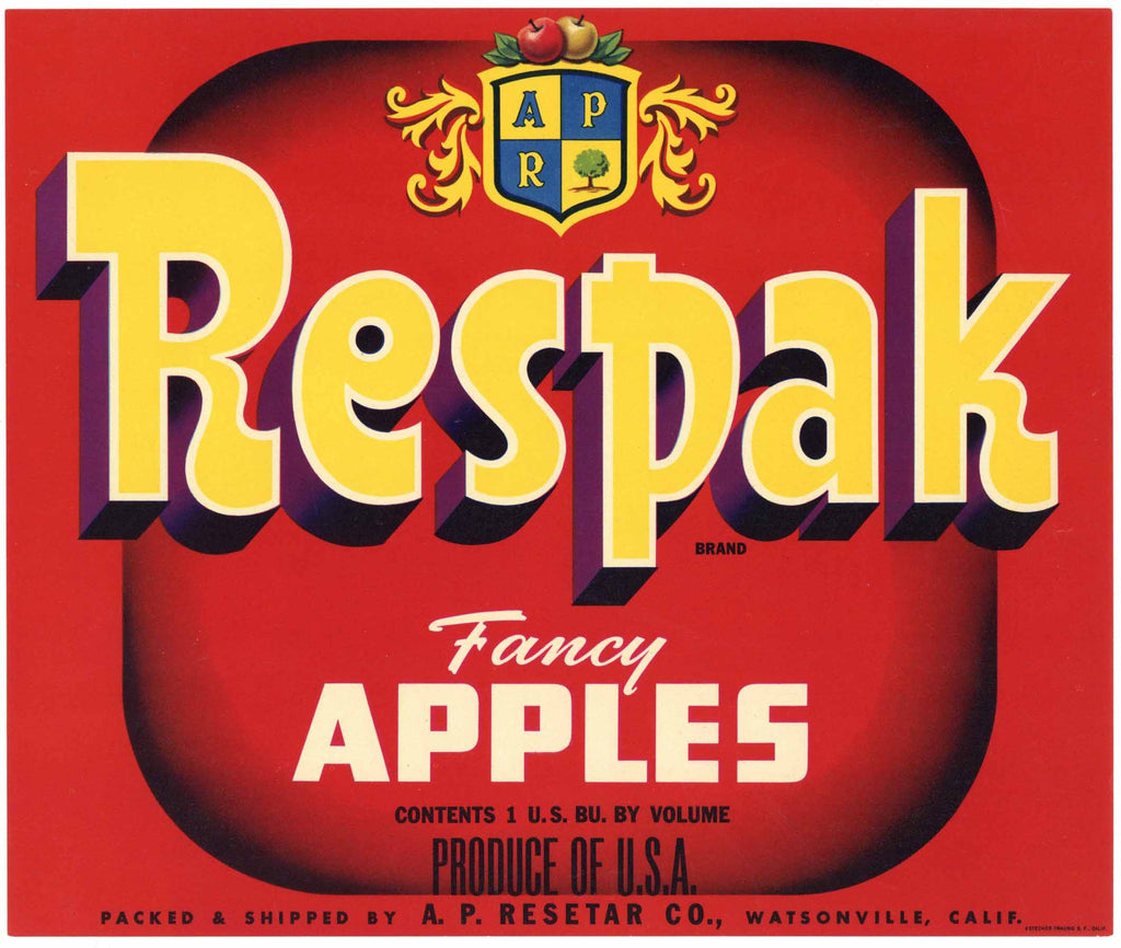 Respack Brand Vintage Watsonville California Apple Crate Label
