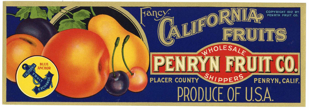 Penryn Fruit Co. Brand Vintage Placer County Fruit Crate Label