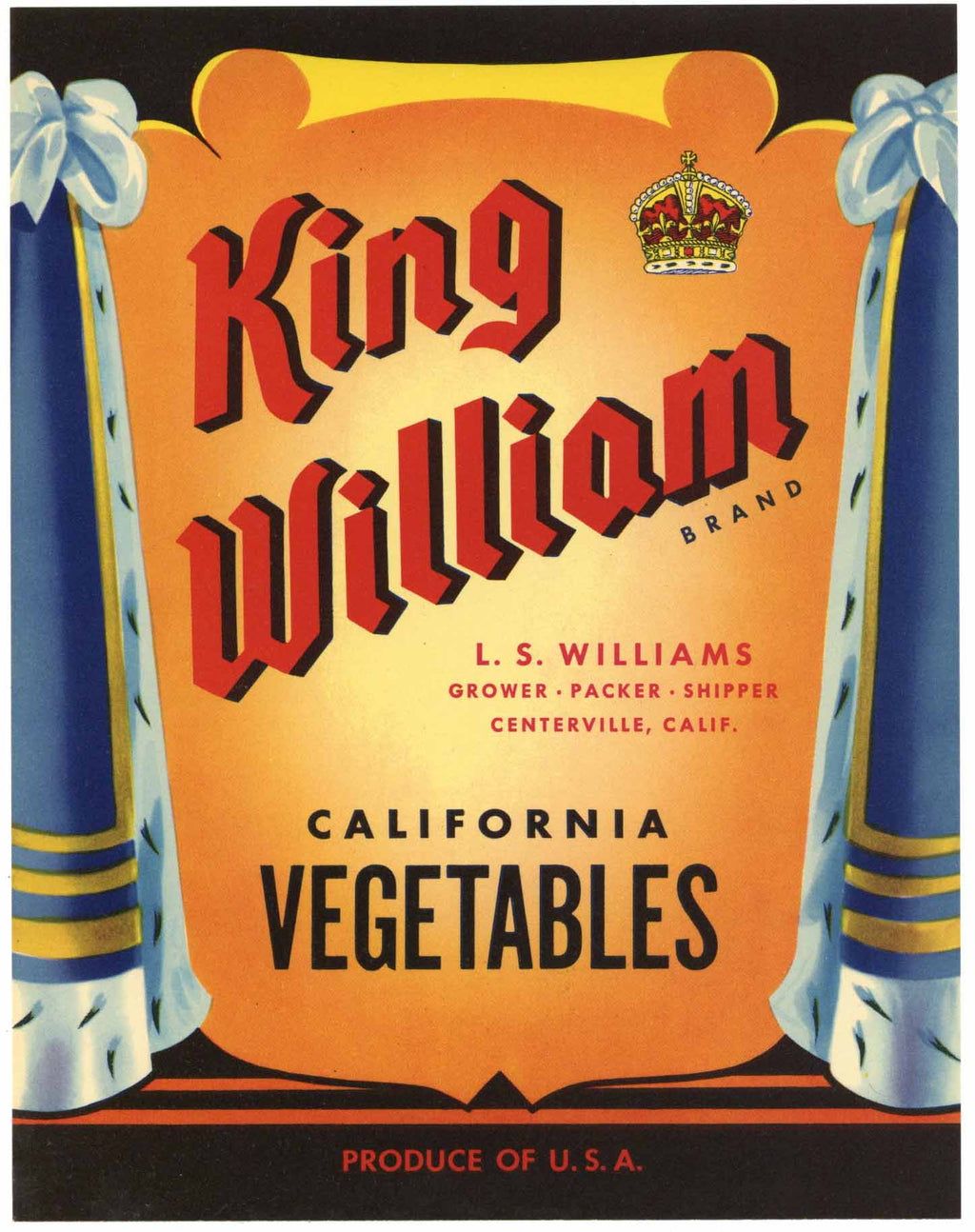 King William Brand Vintage Centerville Vegetable Crate Label