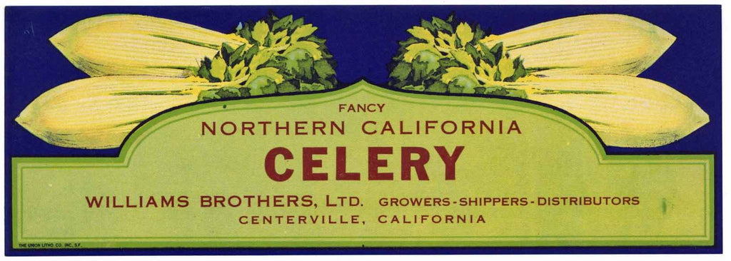 Northern California Brand Vintage Celery Vegetable Crate Label