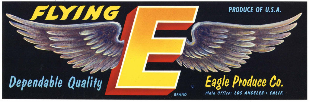 Flying E Brand Vintage California Fruit Crate Label