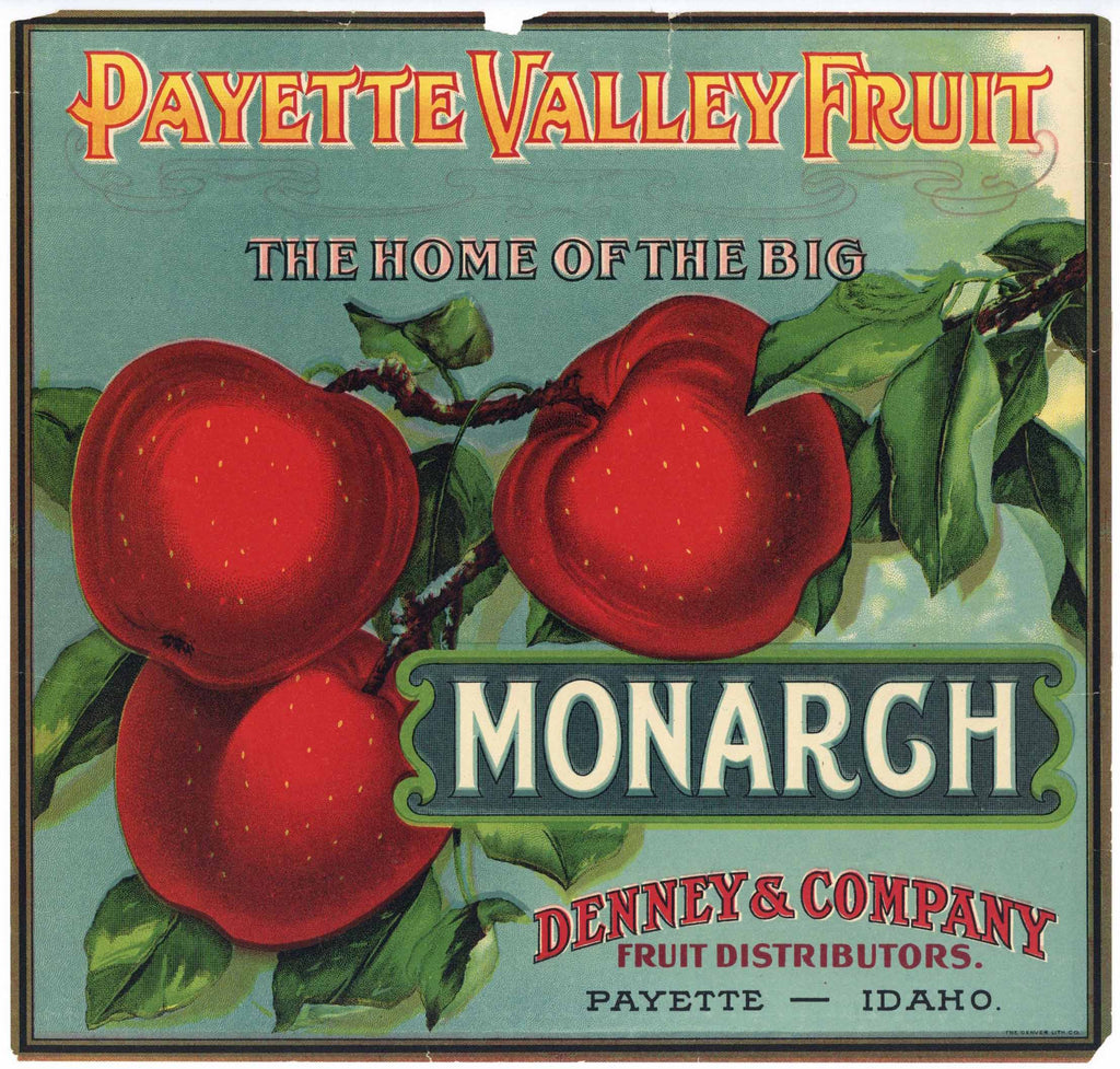 Payette Valley Fruit Brand Vintage Idaho Apple Crate Label, Monarch, wear