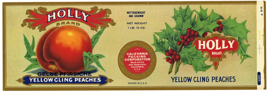 Holly Brand Vintage Peach Can Label, export label