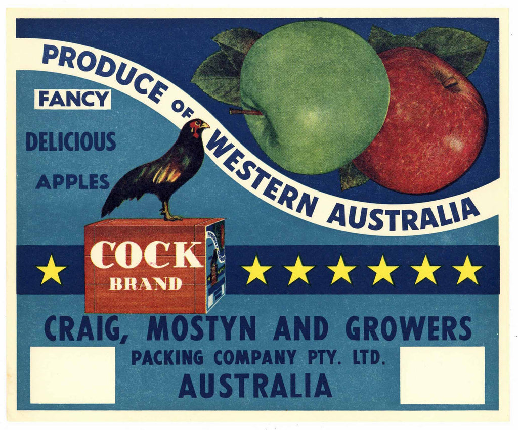 Cock Brand Tasmania Australia Apple Crate Label