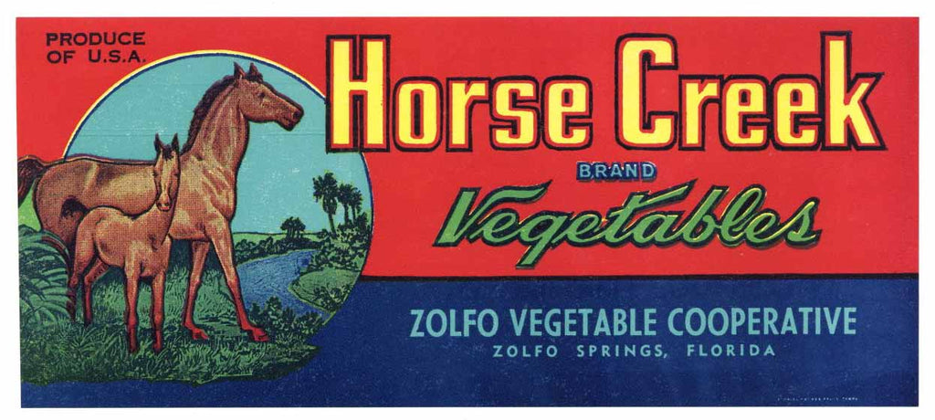 Horse Creek Brand Vintage Zolfo Springs Florida Produce Crate Label