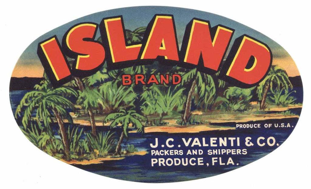 Island Brand Vintage Florida Produce Crate Label