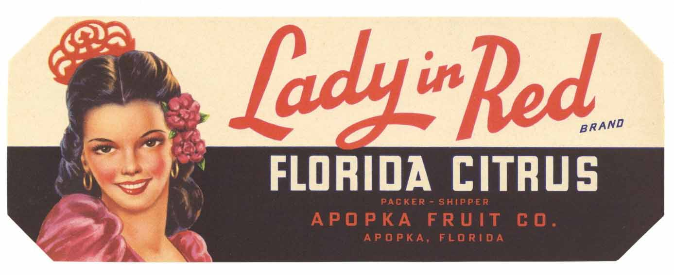 Lady In Red Brand Vintage Apopka Florida Citrus Crate Label