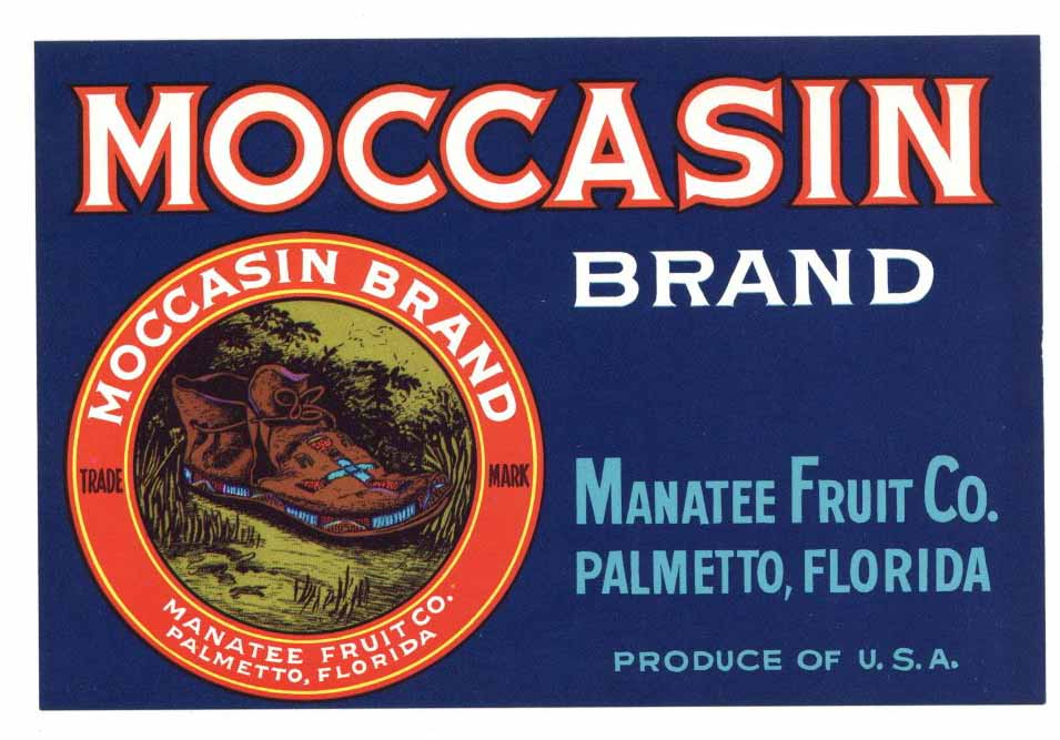Moccasin Brand Vintage Palmetto Florida Produce Crate Label, s