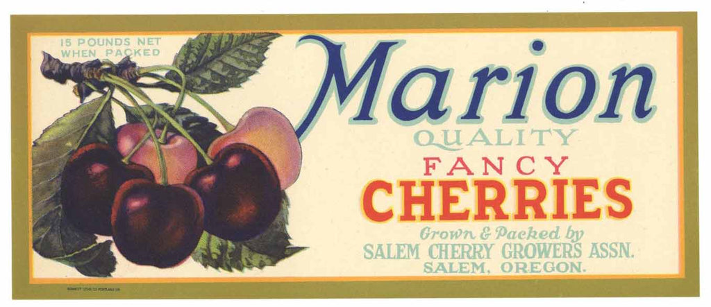 Marion Brand Vintage Salem Oregon Cherry Crate Label