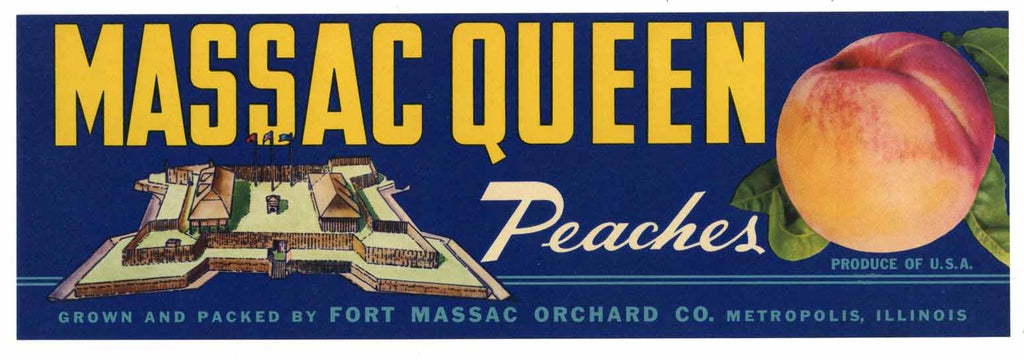 Massac Queen Brand Vintage Peach Crate Label