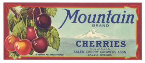 Mountain Brand Vintage Salem Oregon Cherry Crate Label