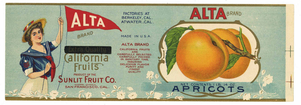 Alta Brand Vintage Apricot Can Label