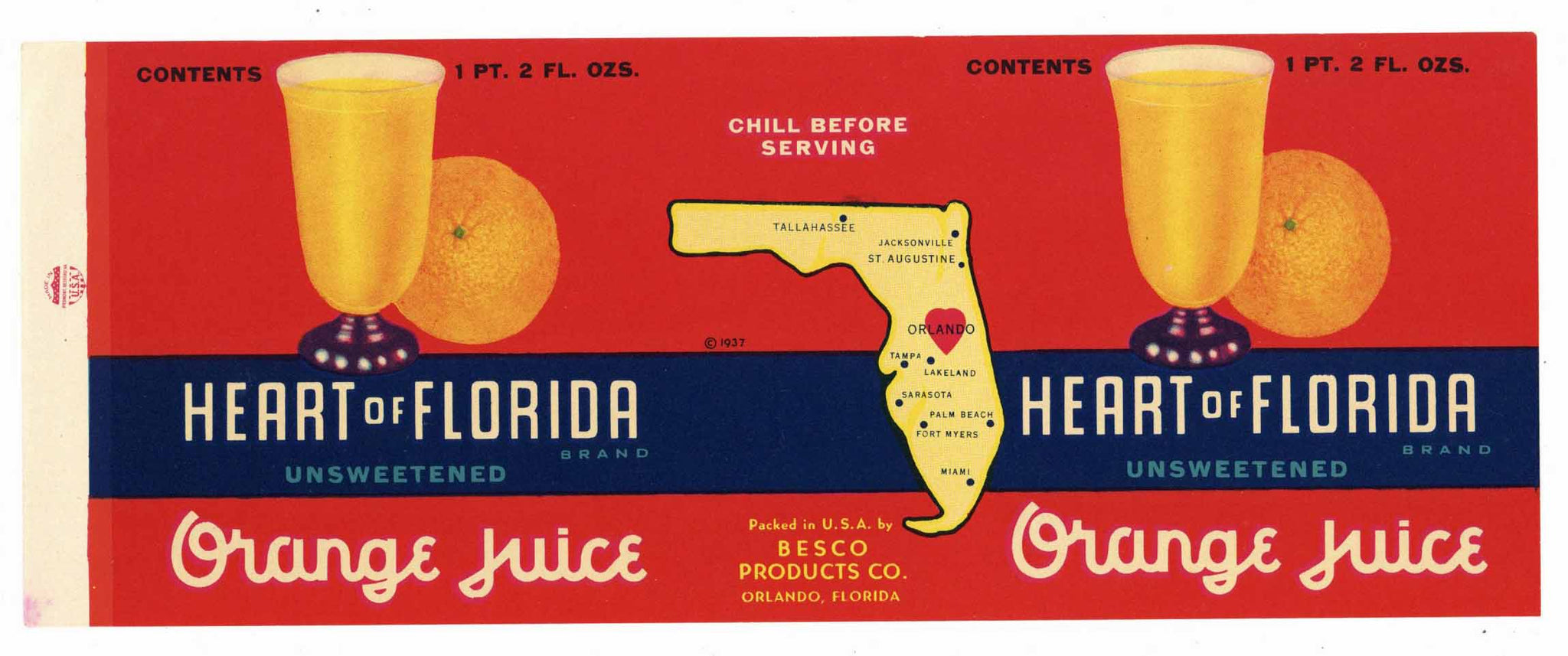 Heart Of Florida Brand Vintage Orlando Citrus Can Label