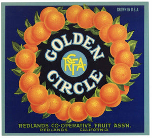 Golden Circle Brand Vintage Redlands Orange Crate Label