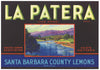 La Patera Brand Vintage Santa Barbara County Lemon Crate Label