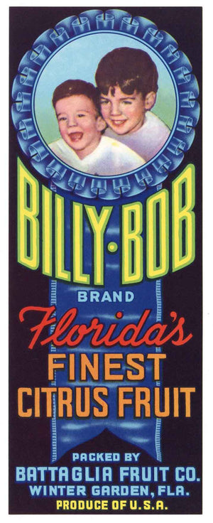 Billy Bob Brand Vintage Winter Garden Florida Citrus Crate Label