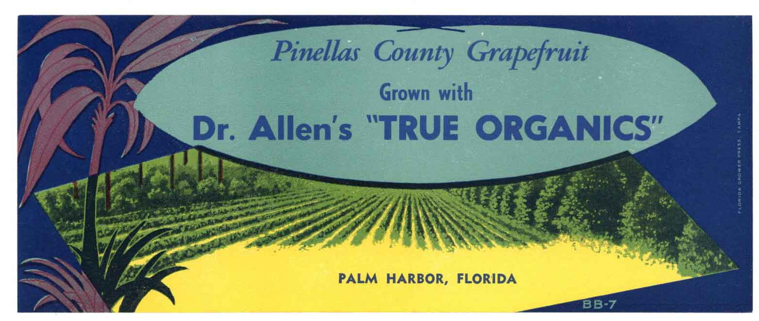 Dr Allen's Brand Vintage Palm Harbor Florida Citrus Crate Label