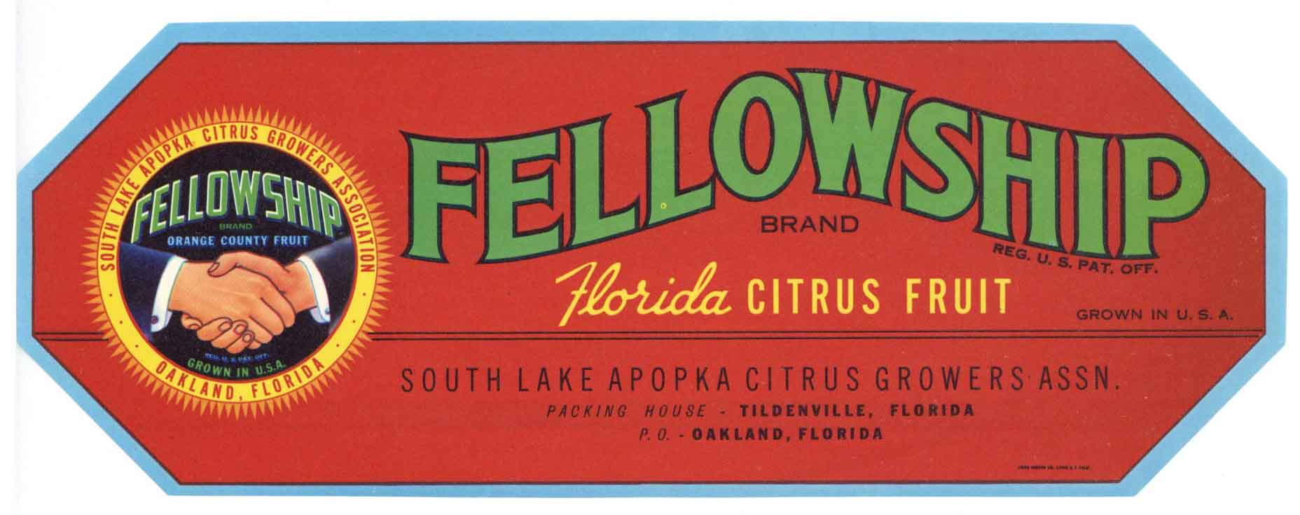 Fellowship Brand Vintage Florida Citrus Crate Label, s