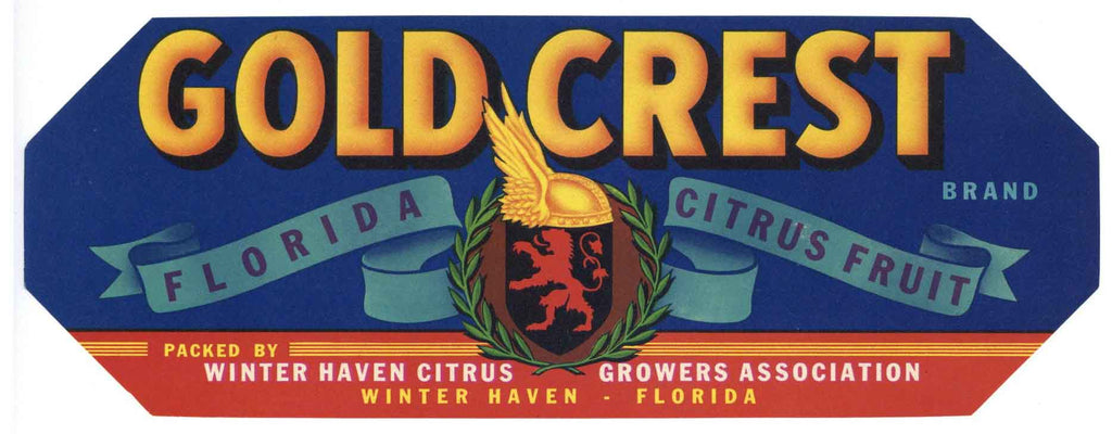 Gold Crest Brand Vintage Winter Haven Florida Citrus Crate Label