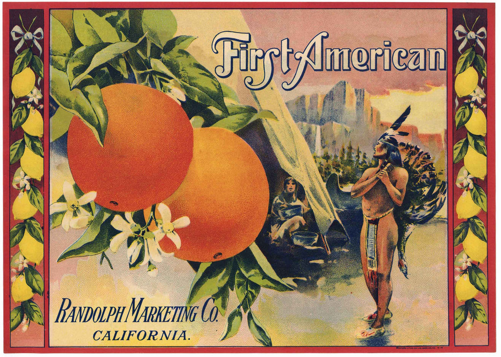 First American Brand Vintage Lemon Crate Label