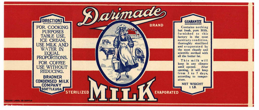 Darimade Brand Vintage Seattle Milk Can Label