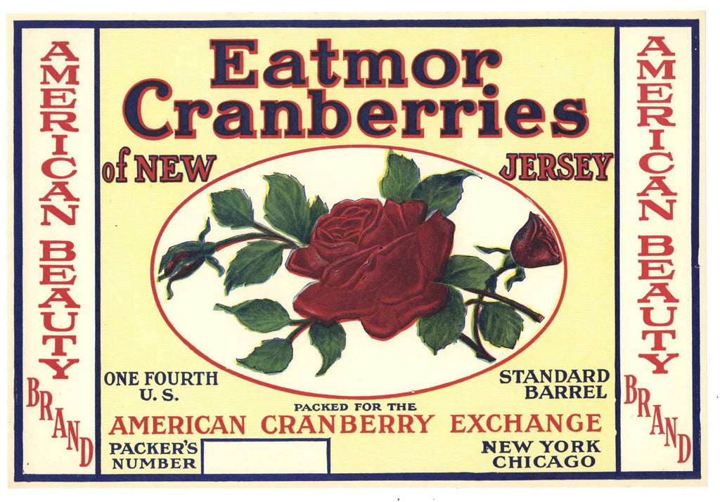American Beauty Brand Vintage New Jersey Cranberry Crate Label, 1/4