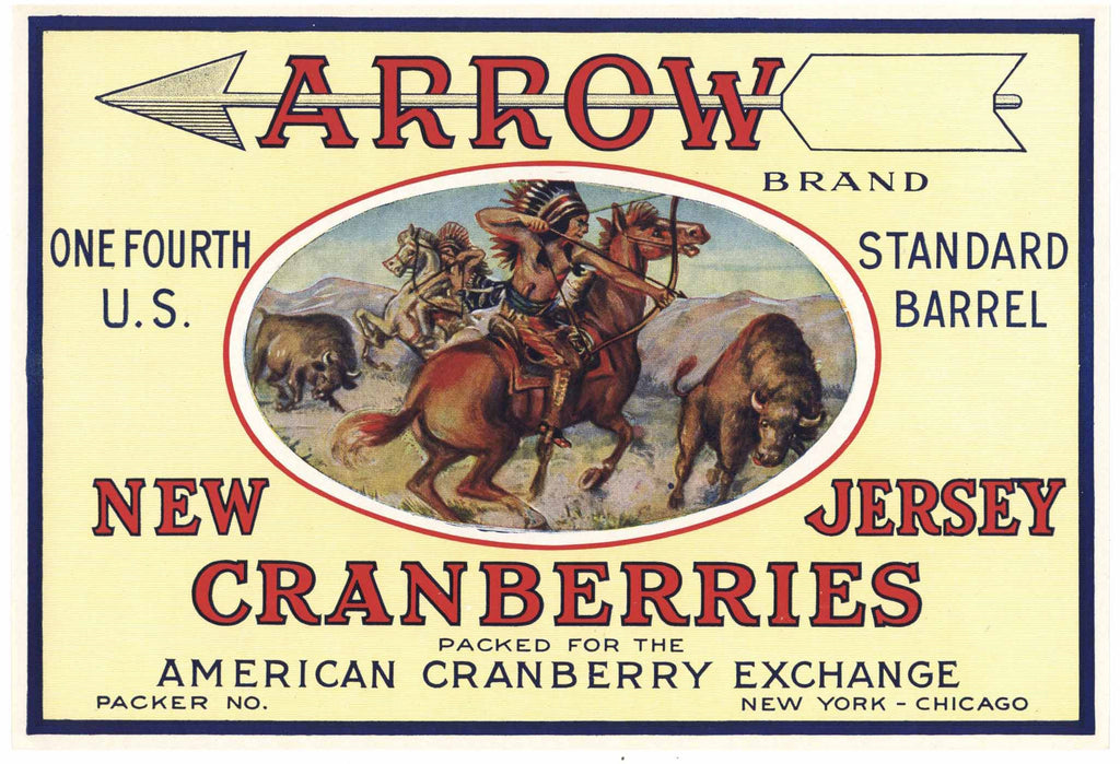 Arrow Brand Vintage New Jersey Cranberry Crate Label, 1/4