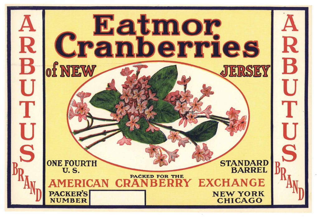 Arbutus Brand Vintage New Jersey Cranberry Crate Label, 1/4