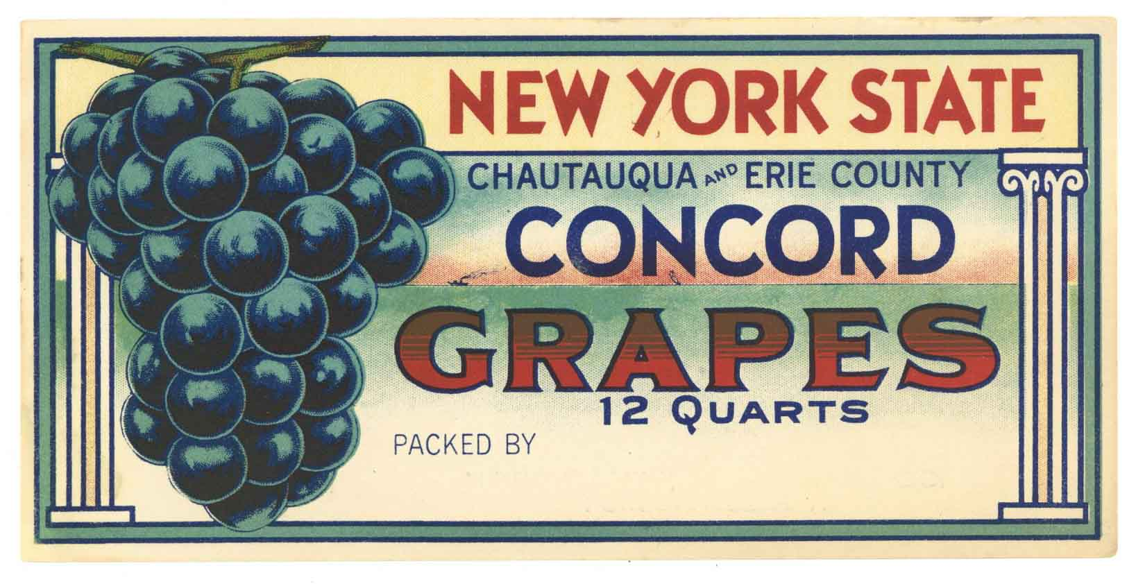 New York State Brand Vintage Concord Grape Crate Label