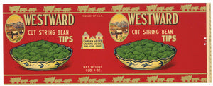 Westward Brand Vintage San Jose String Bean Can Label
