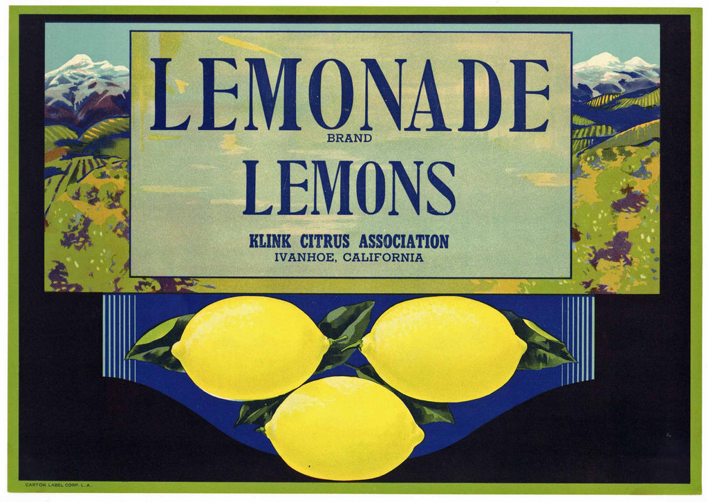 Lemonade Brand Vintage Ivanhoe Lemon Crate Label, o