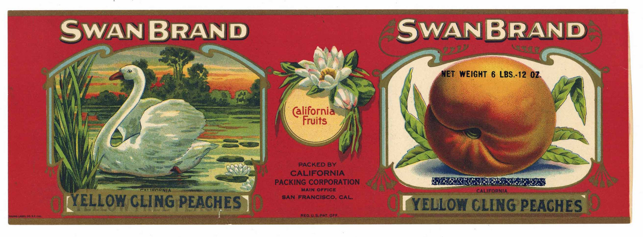 Swan Brand Vintage Peach Can Label