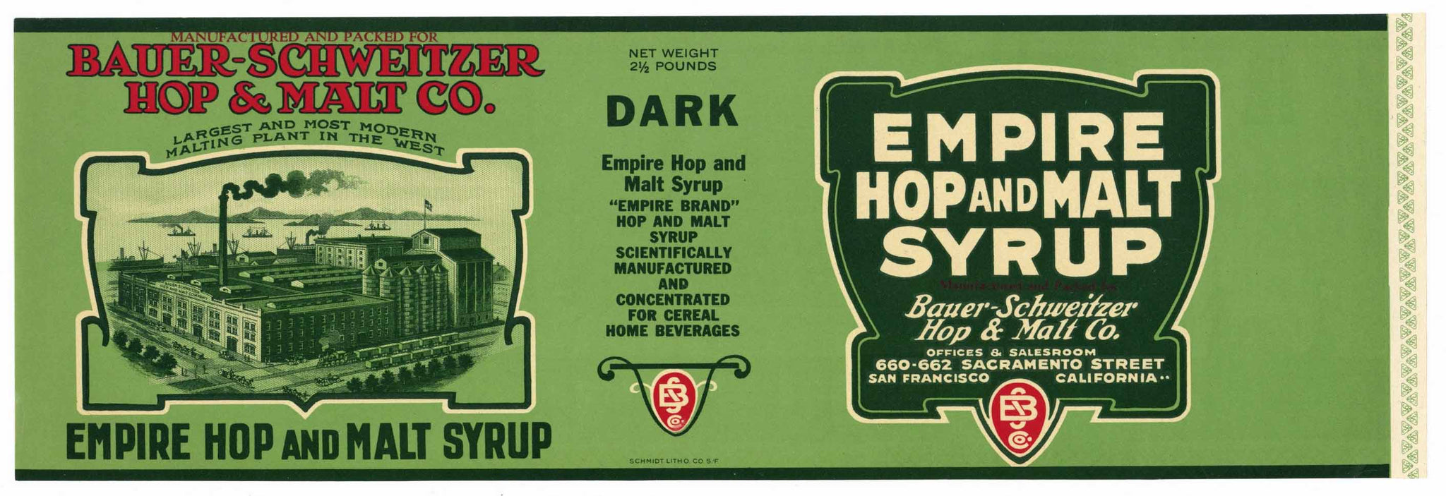 Empire Hop and Malt Syrup Brand Vintage San Francisco Can Label