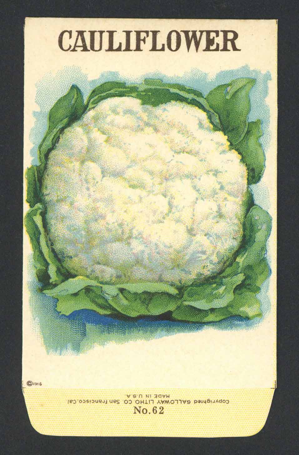Cauliflower Antique Stock Seed Packet