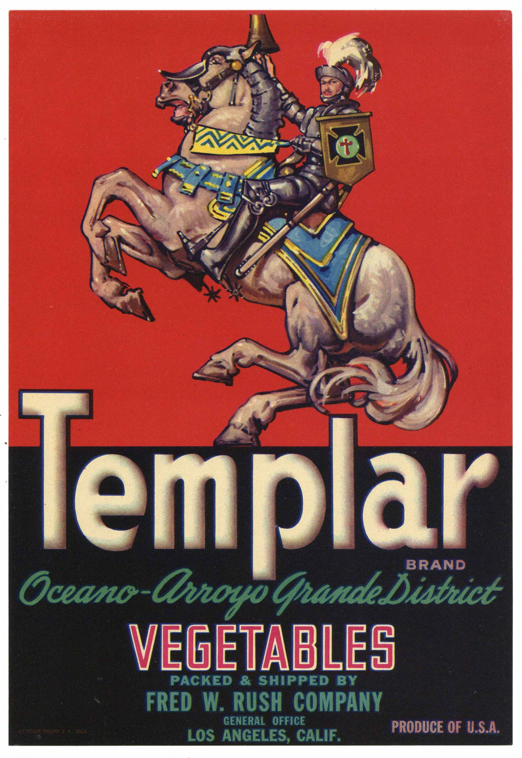 Templar Brand Vintage Vegetable Crate Label