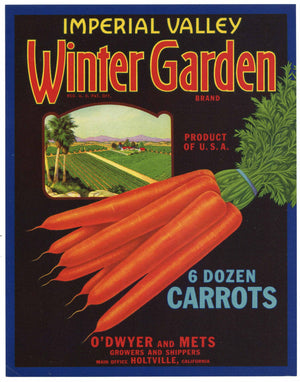 Winter Garden Brand Vintage Imperial Valley Vegetable Crate Label, Carrots