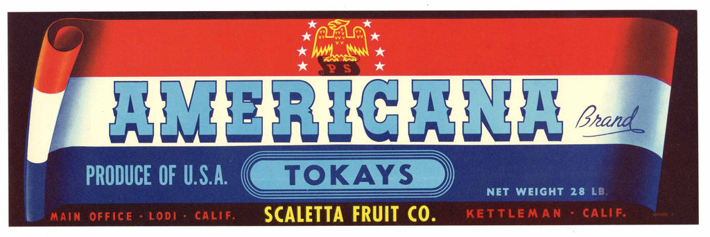 Americana Brand Vintage  Lodi Grape Crate Label