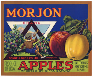 Morjon Brand Vintage Connell Bros. Apple Crate Label, boy