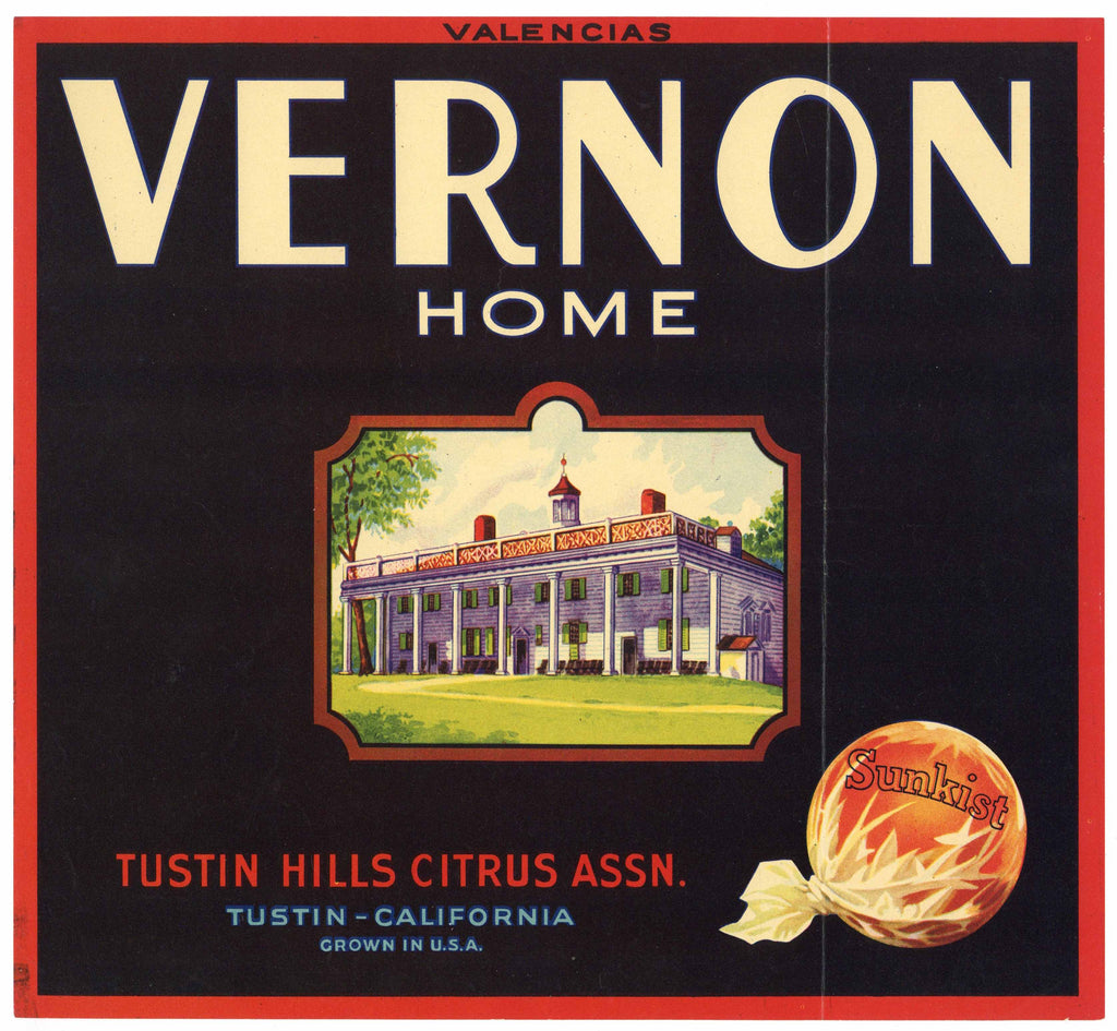 Vernon Home Brand Vintage Tustin Orange Crate Label
