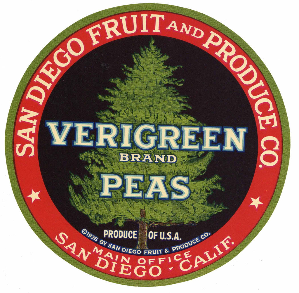Verigreen Brand Vintage San Diego Vegetable Crate Label, Peas