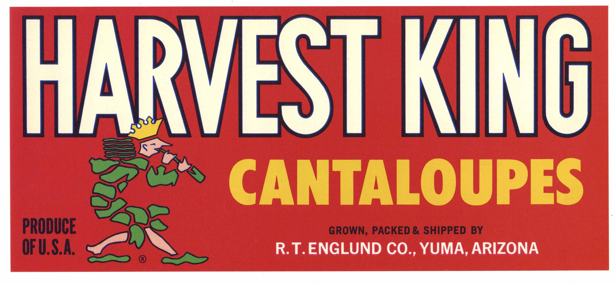 Harvest King Brand Vintage Yuma Arizona Melon Crate Label
