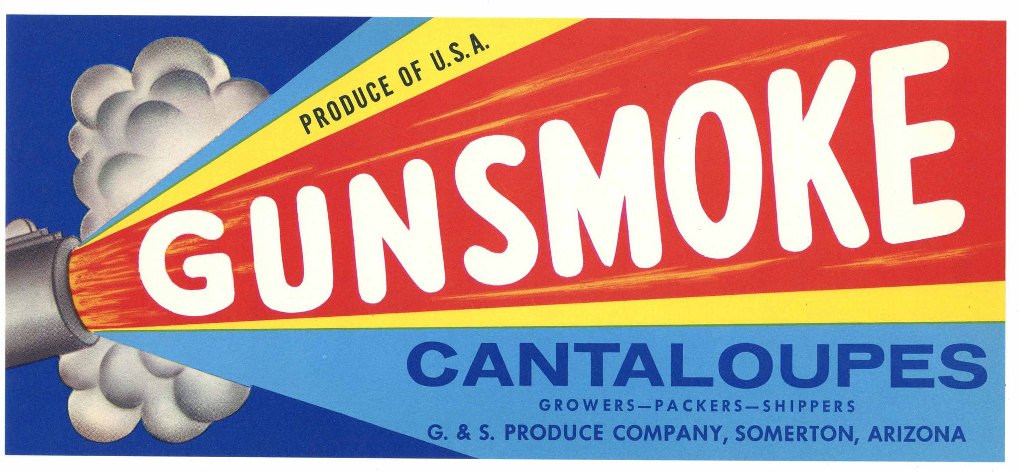 Gunsmoke Brand Vintage Somerton Arizona Melon Crate Label, scarcer