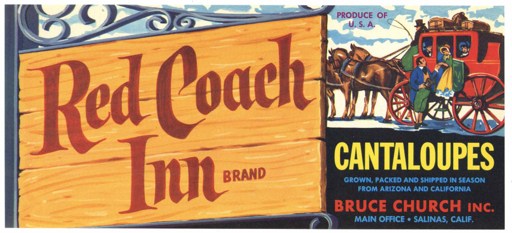 Red Coach Inn Brand Vintage Salinas California Melon Crate Label