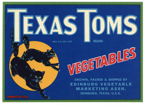 Texas Toms Brand Vintage Edinburg Vegetable Crate Label