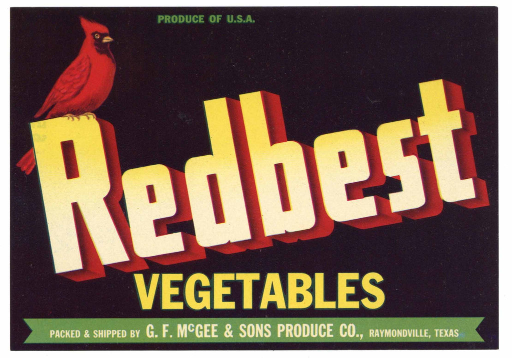 Redbest  Brand Vintage Raymondville Texas Vegetable Crate Label