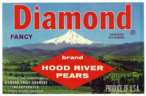 Diamond Brand Vintage Hood River Oregon Pear Crate Label